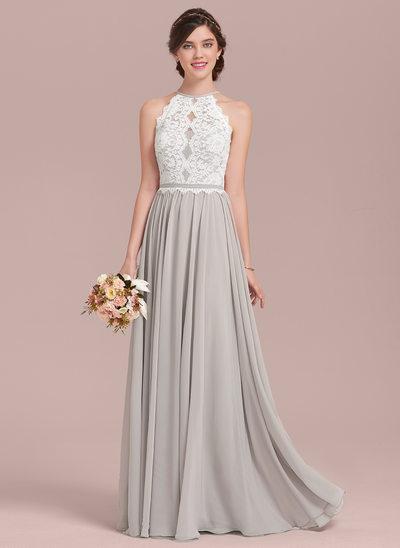wedding party dresses a-line/princess scoop neck floor-length chiffon lace bridesmaid dress ulvxiad