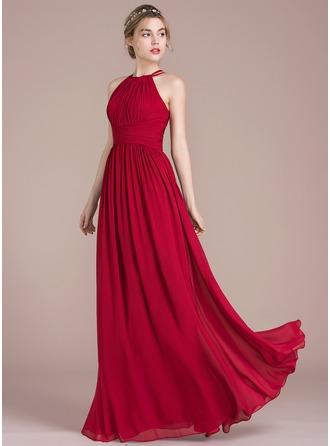 wedding party dresses a-line/princess scoop neck floor-length chiffon prom dress with ruffle  (018116378) - prom tkzpnvk