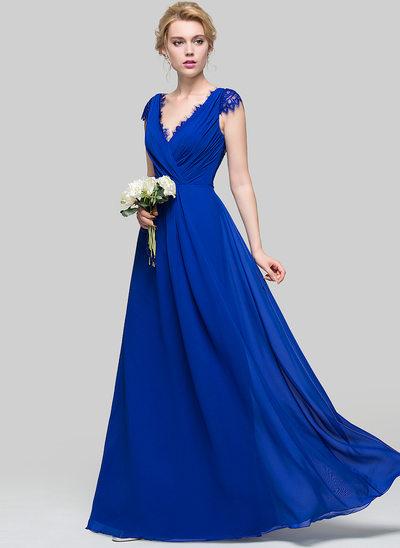wedding party dresses a-line/princess v-neck floor-length chiffon bridesmaid dress with ruffle pgbyncy