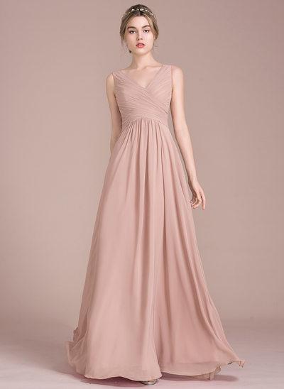 wedding party dresses a-line/princess v-neck floor-length chiffon bridesmaid dress with ruffle tajugpa