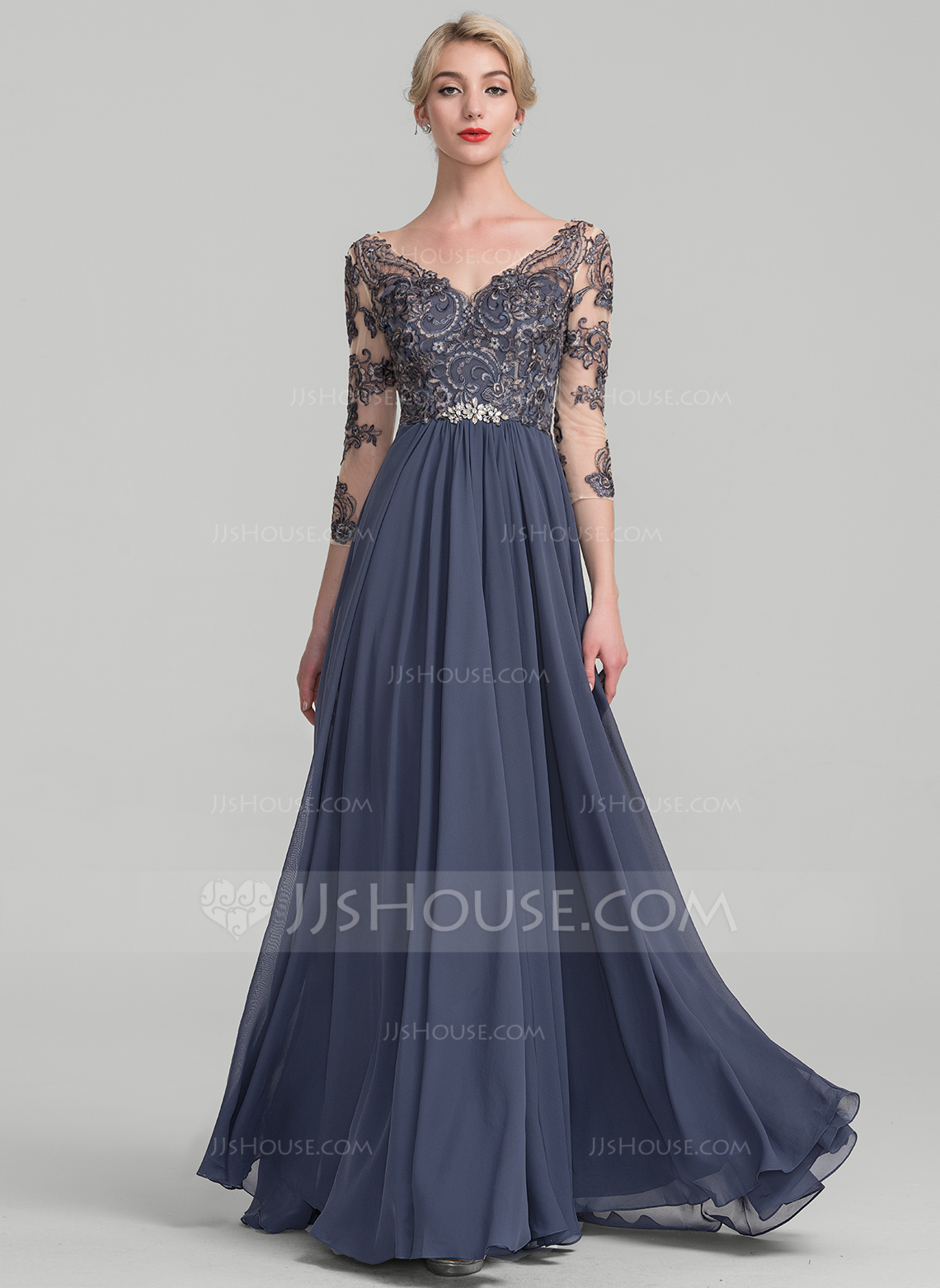 wedding party dresses a-line/princess v-neck floor-length chiffon lace evening dress. loading zoom dpspynt
