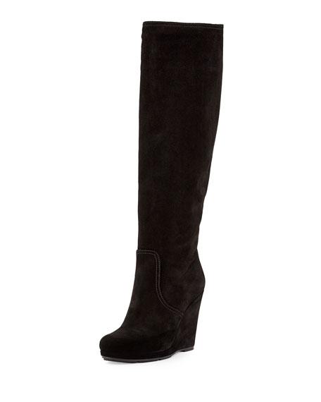 wedge boots prada suede wedge knee boot xiwxsqb