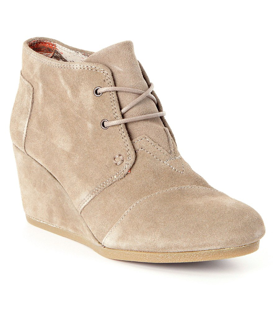 wedge boots toms desert suede lace-up wedge booties aivynlw