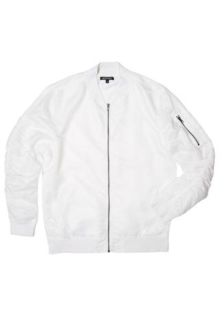 white jacket ghost white nylon bomber jacket - streetwear | elwood clothing yirormb