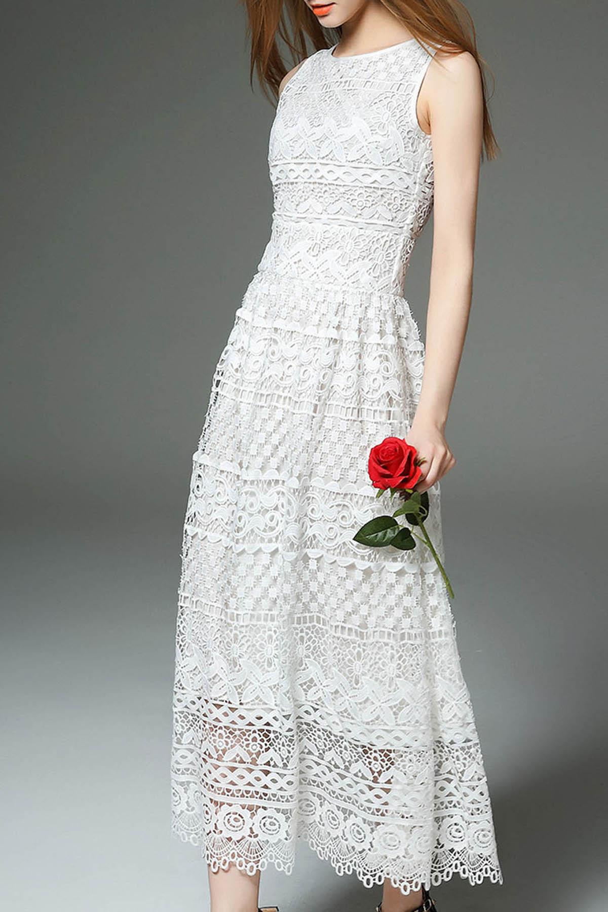 white lace maxi dress white sleeveless lace maxi dress tghyasa
