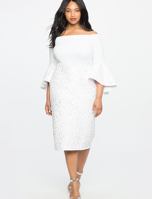 white plus size dresses lace ruffle sleeve off the shoulder dress txflamc