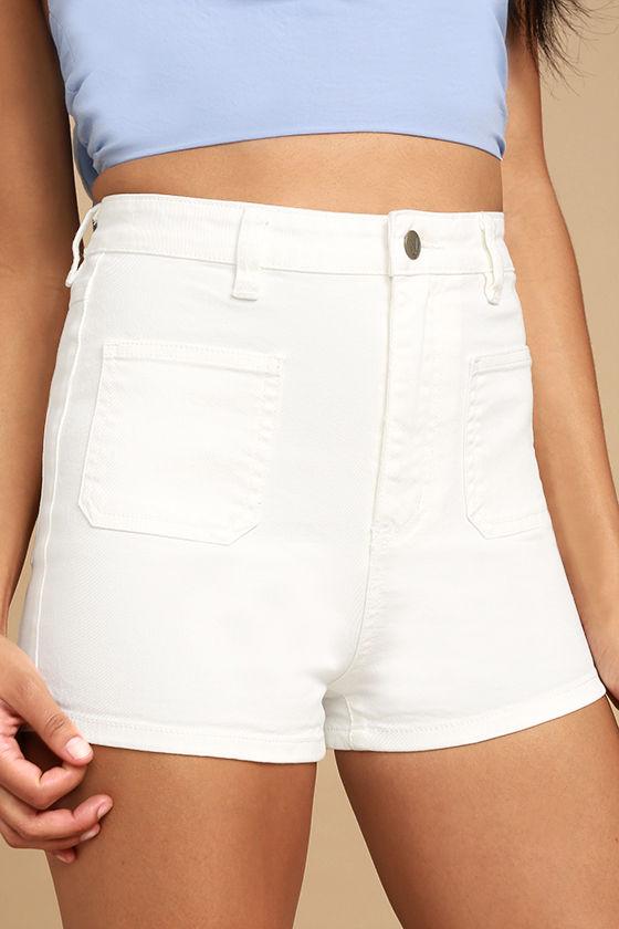 white shorts mink pink escape white high-waisted denim shorts 1 hriofpy