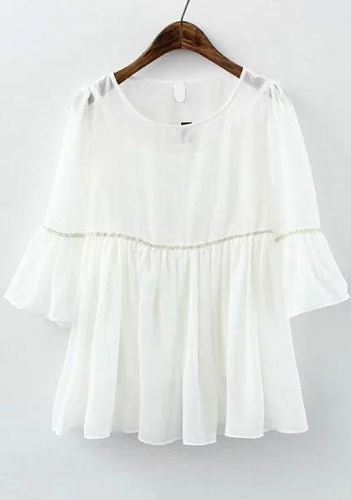 white tops buy ruffle sleeve chiffon white top from abaday.com, free shipping  worldwide - mbwkwpr