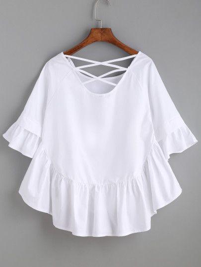 white tops crisscross back frill dip hem top devkqxo