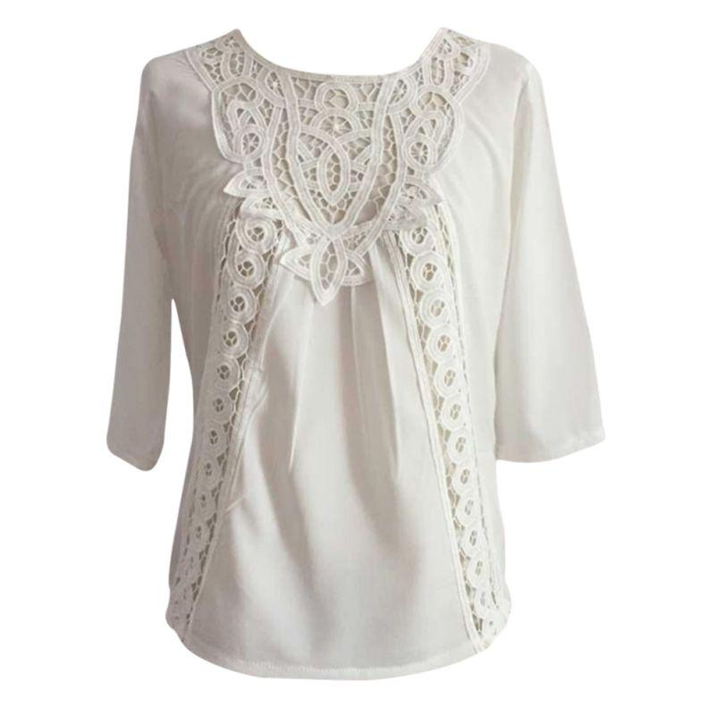white tops fashion women loose blouse casual lace crochet chiffon 3/4 sleeve shirt tops-in dibhfam