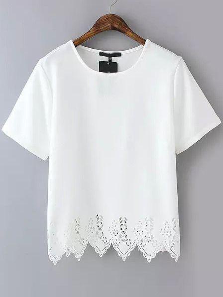 white tops laser cutout chevron hem chiffon blouse pgsccsa rvkcscn