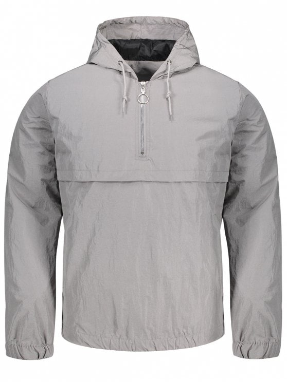 windbreaker jackets shops hooded half-zip windbreaker jacket - gray m booyumf