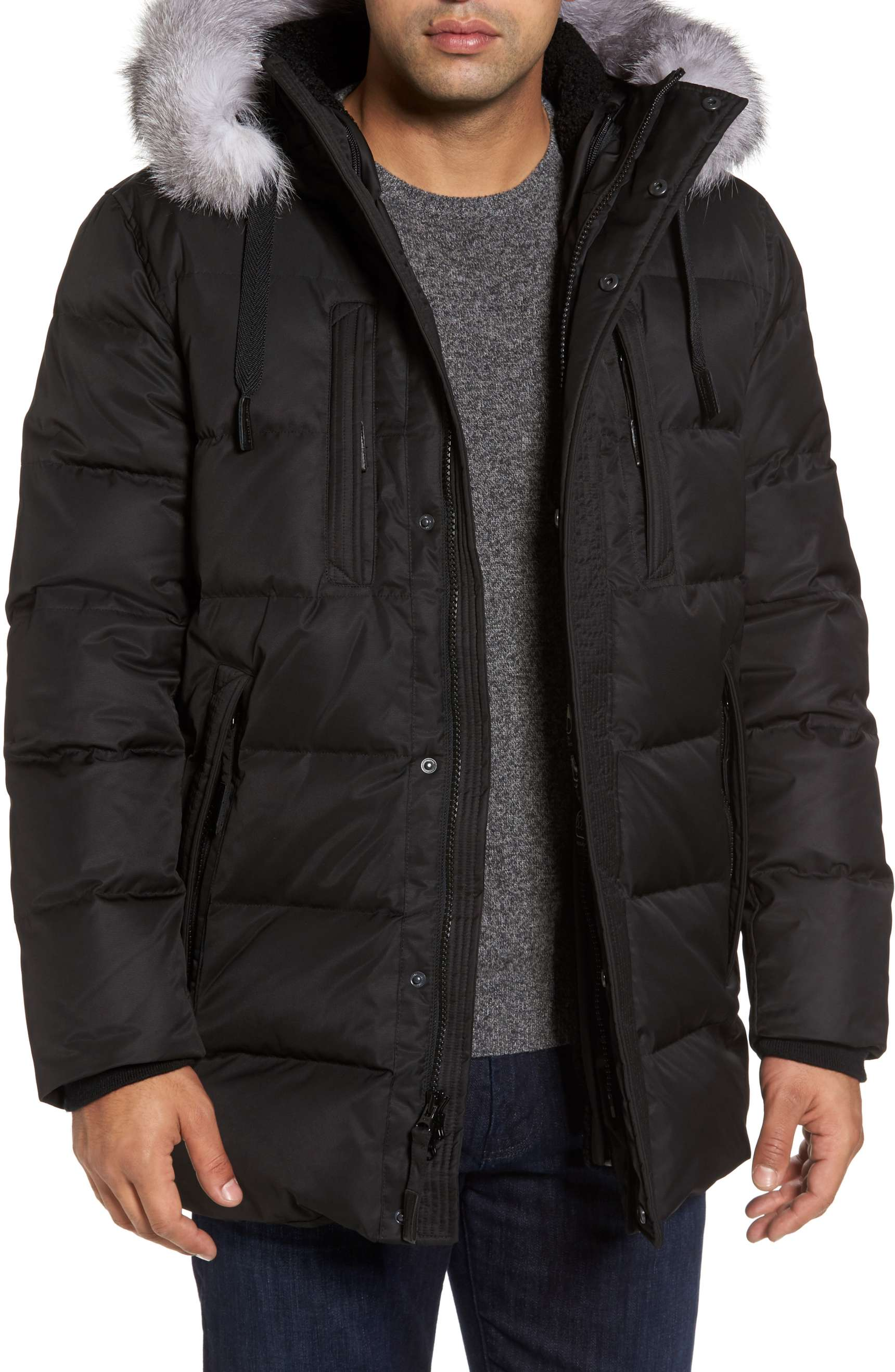 winter coats for men andrew marc quilted down winter jacket with fox fur trim in black - zgdvbrm