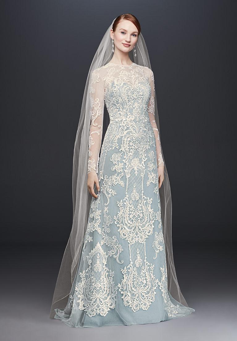 winter wedding dresses blue illusion lace long-sleeve sheath wedding dress hmxwtyt