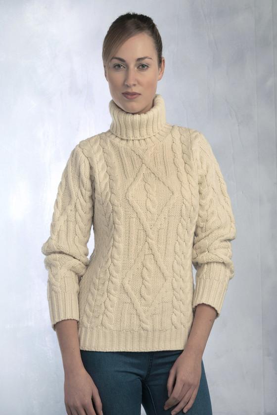 womenu0027s aran turtleneck sweater - natural zysfeem
