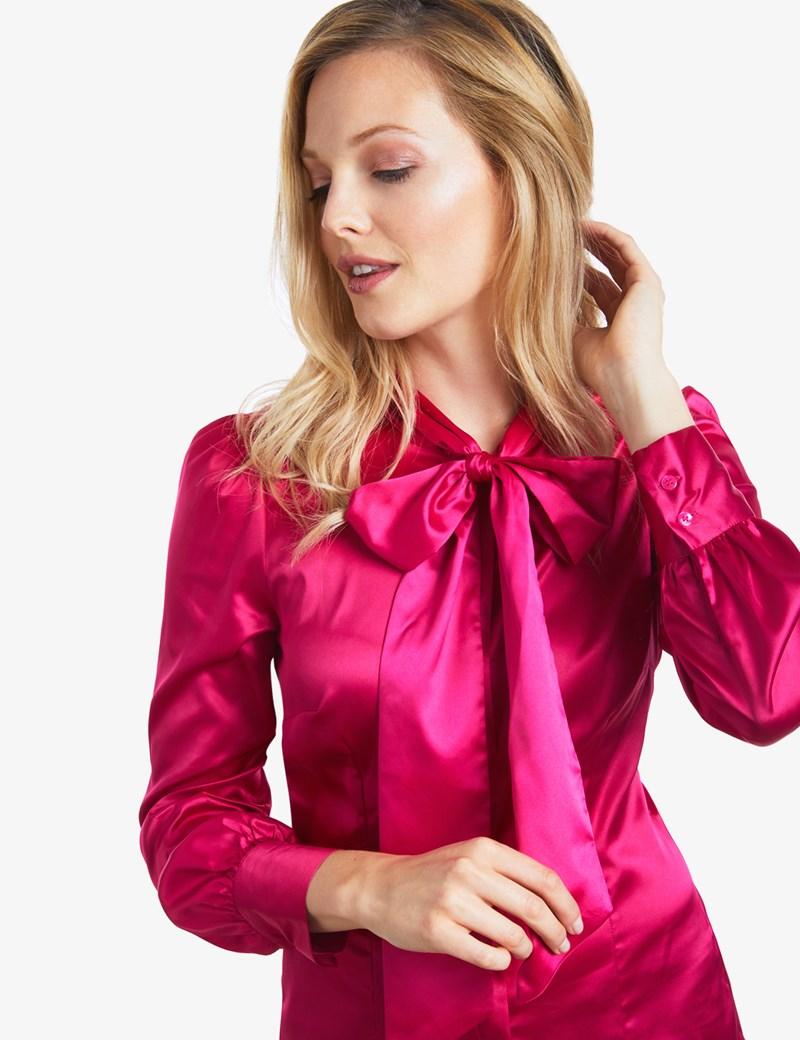 womenu0027s fuchsia fitted satin blouse - pussy bow mfydxsb
