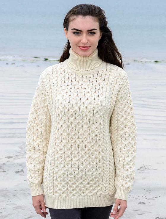 womenu0027s oversized merino turtleneck sweater - natural white isidatr