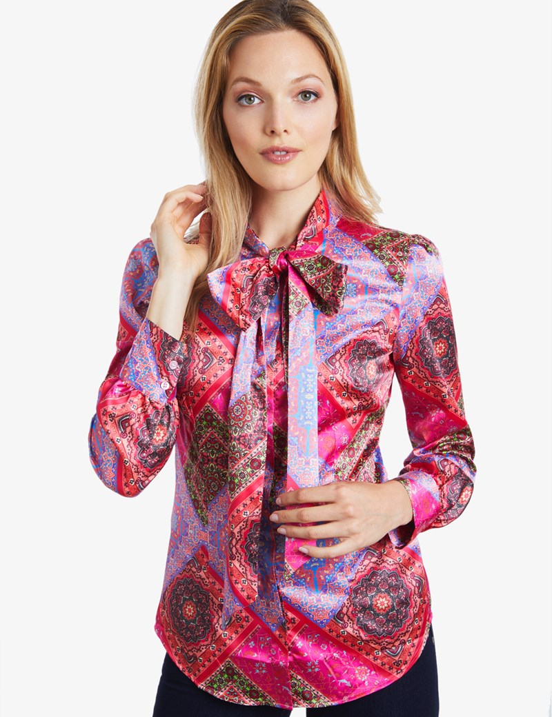 womenu0027s pink paisley fitted satin blouse - pussy bow rzqdlws