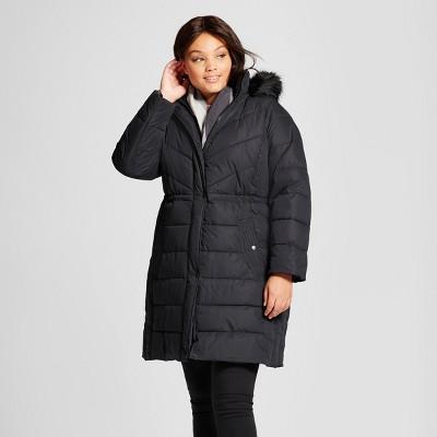 womenu0027s plus puffer coat with faux fur detail - ava u0026 viv™ jjbcetp