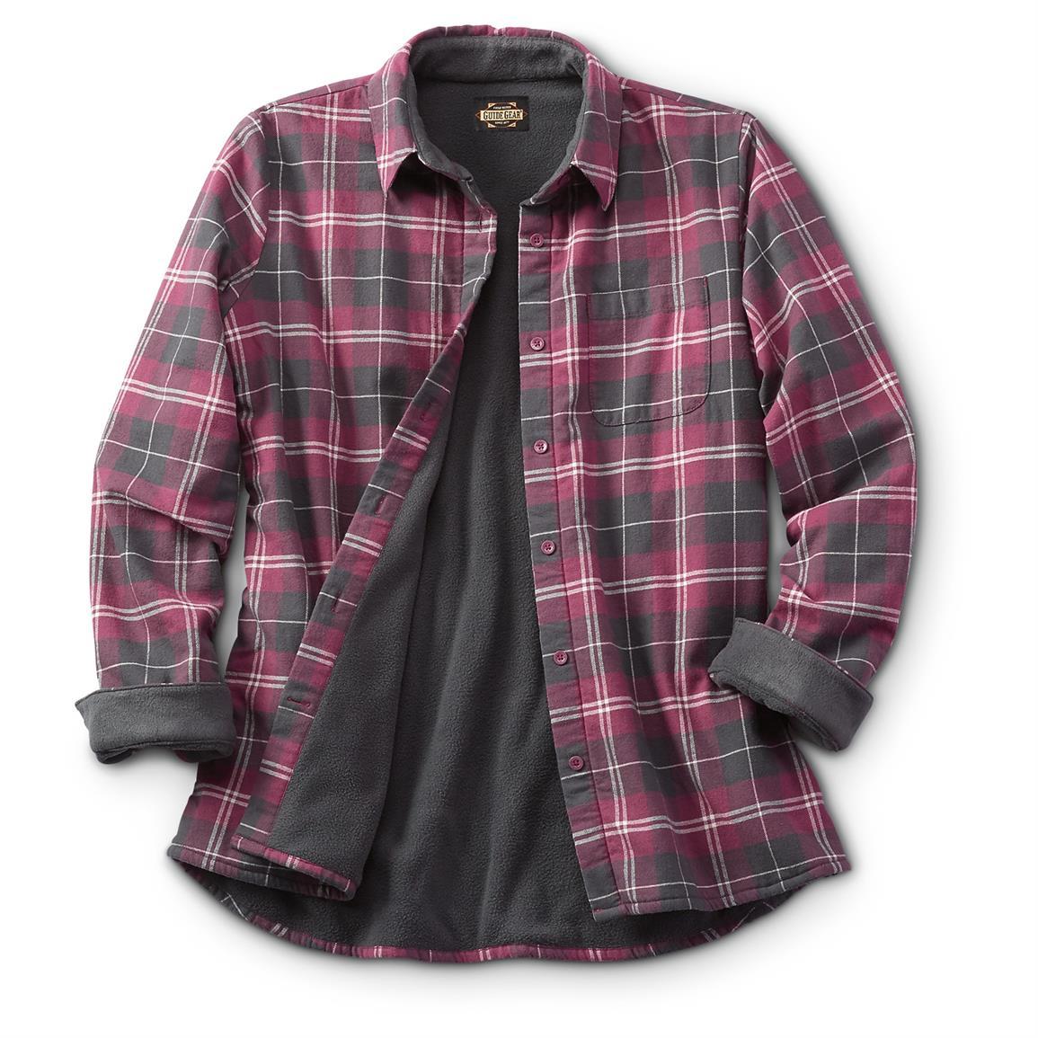 womens flannel shirt guide gear womenu0027s fleece-lined flannel shirt, wine kiyzbno