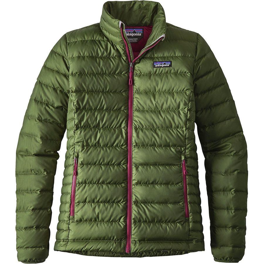 womens jackets patagonia - down sweater jacket - womenu0027s - buffalo green gumdoft