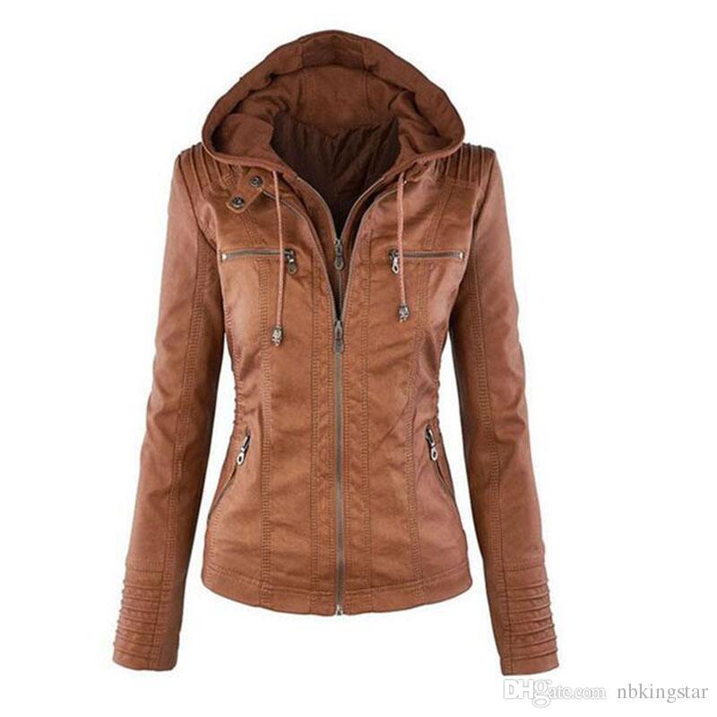 womens jackets womenu0027s pu leather jacket hooded lapel zipper pockets removable jackets  coat plus hhekbwr