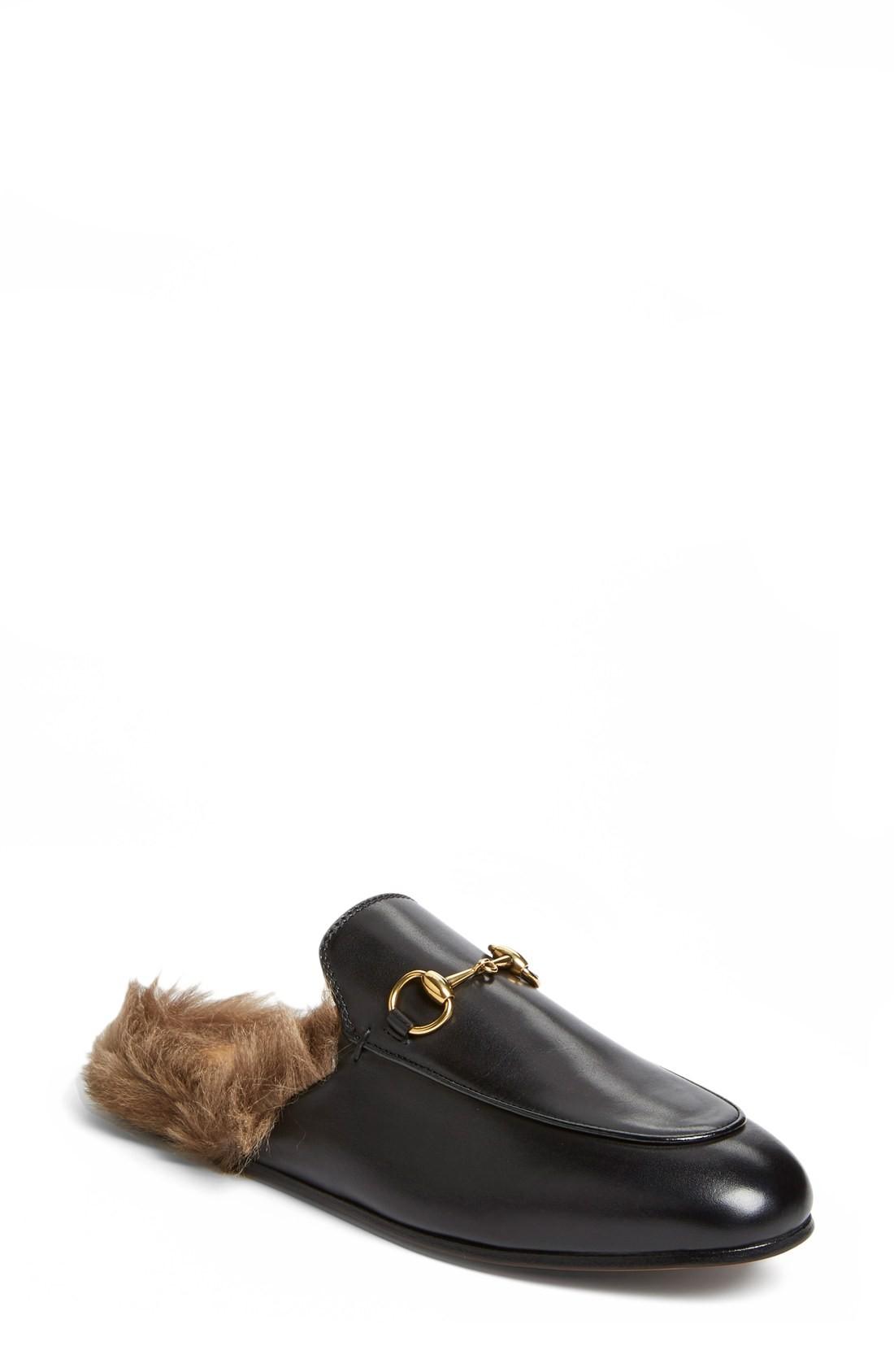 womens loafers gucci princetown genuine shearling loafer mule (women) lrmjcmp