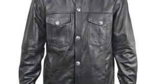 xelement xs908b menu0027s black leather shirt with buffalo buttons -  leatherup.com sxlcolv