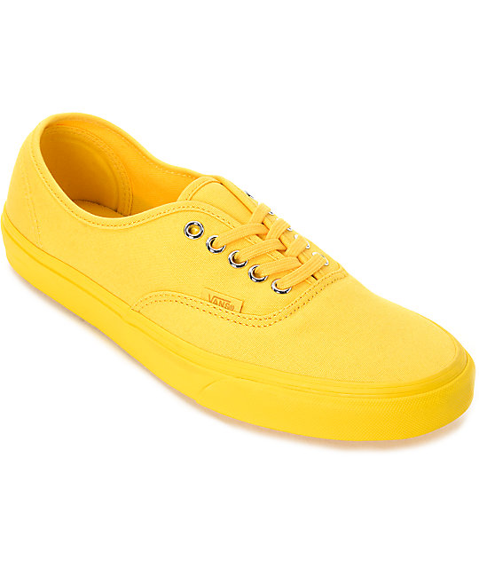 yellow shoes vans authentic mono spectra yellow canvas skate shoes ... jodjhjw