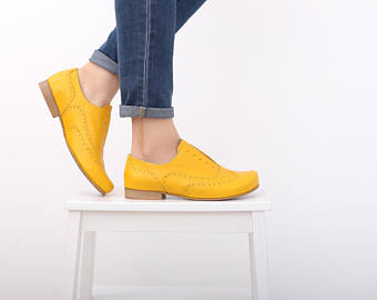 yellow shoes , womenu0027s oxfords shoes wide leather shoes , handmade leather eiojymv