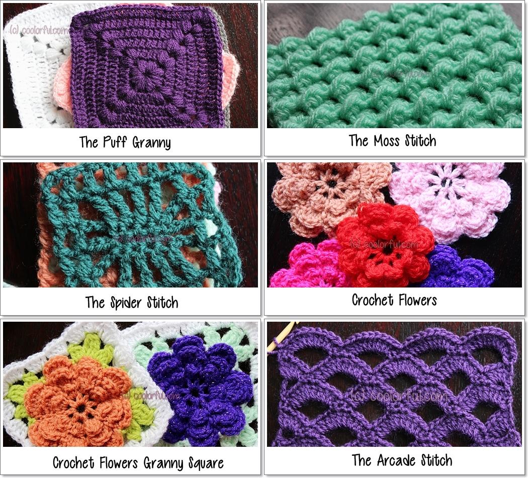 ... different crochet stitches ... gkeaafs