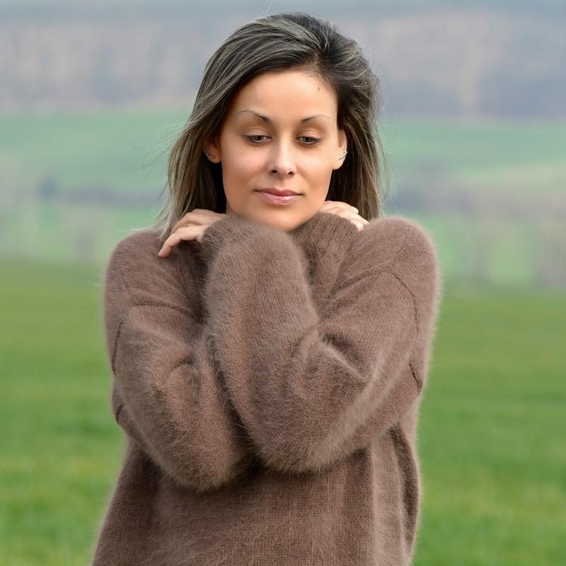 ... hand knit 100% pure angora sweater brown fuzzy crew neck handgestrickte rwidwng