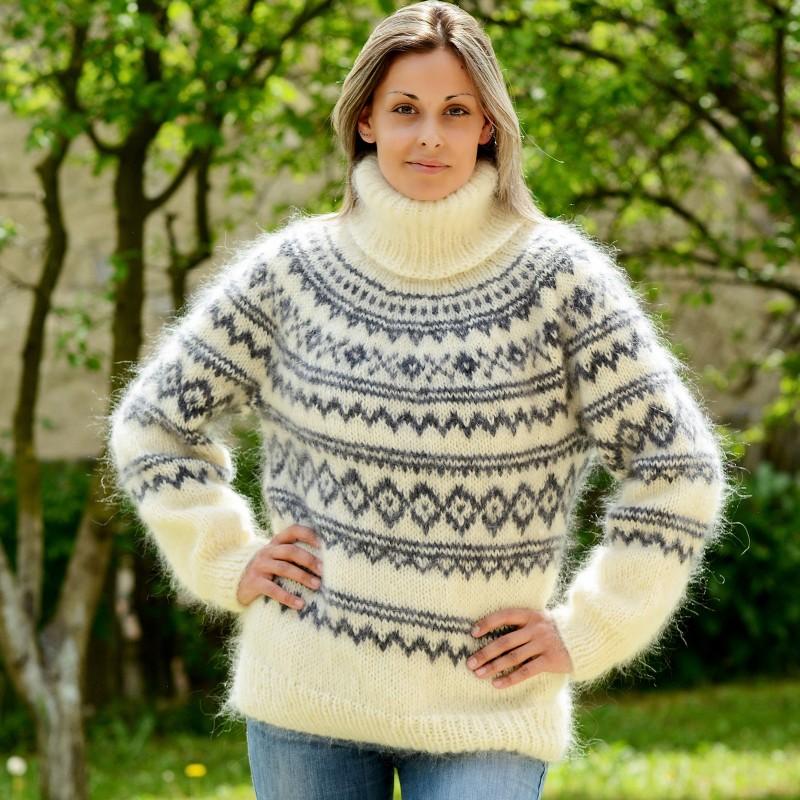 ... icelandic hand knit mohair sweater white gray fuzzy handmade turtleneck  handgestrickte lpykkoz