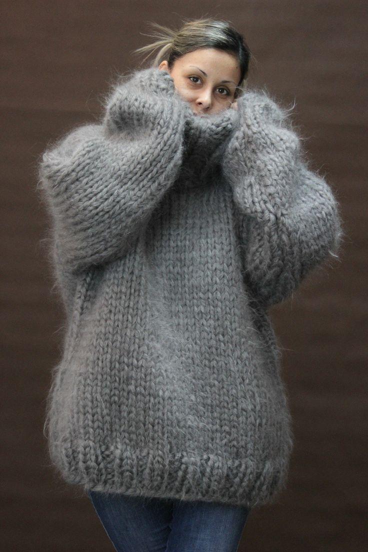 10 strands hand knit mohair sweater gray fuzzy turtleneck jumper jersey 2 6 duzwhbn