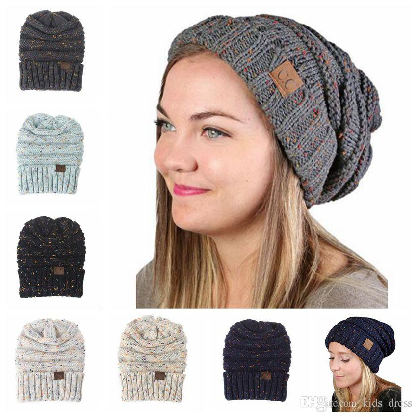 2018 cc knitted hats cc trendy beanie women chunky skull caps winter cable tcstmky