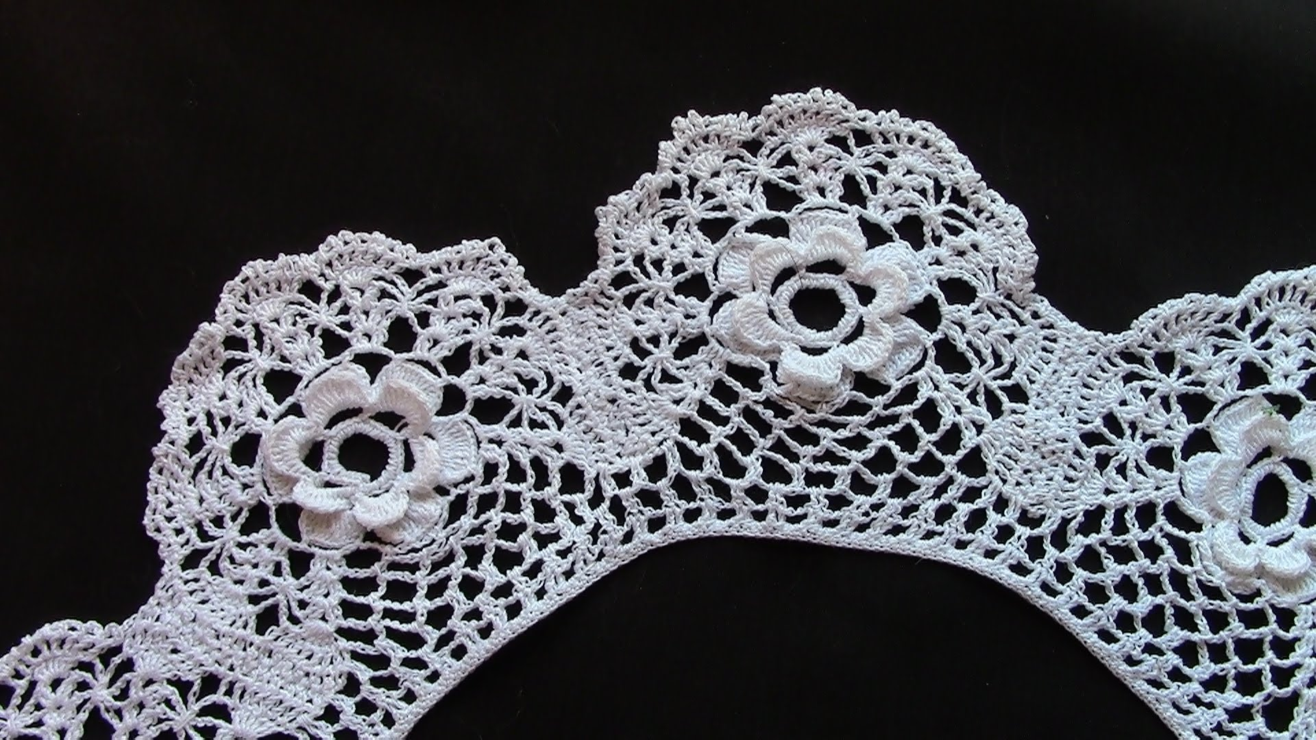 an irish roses collar in crochet lace - youtube wfqnqhs