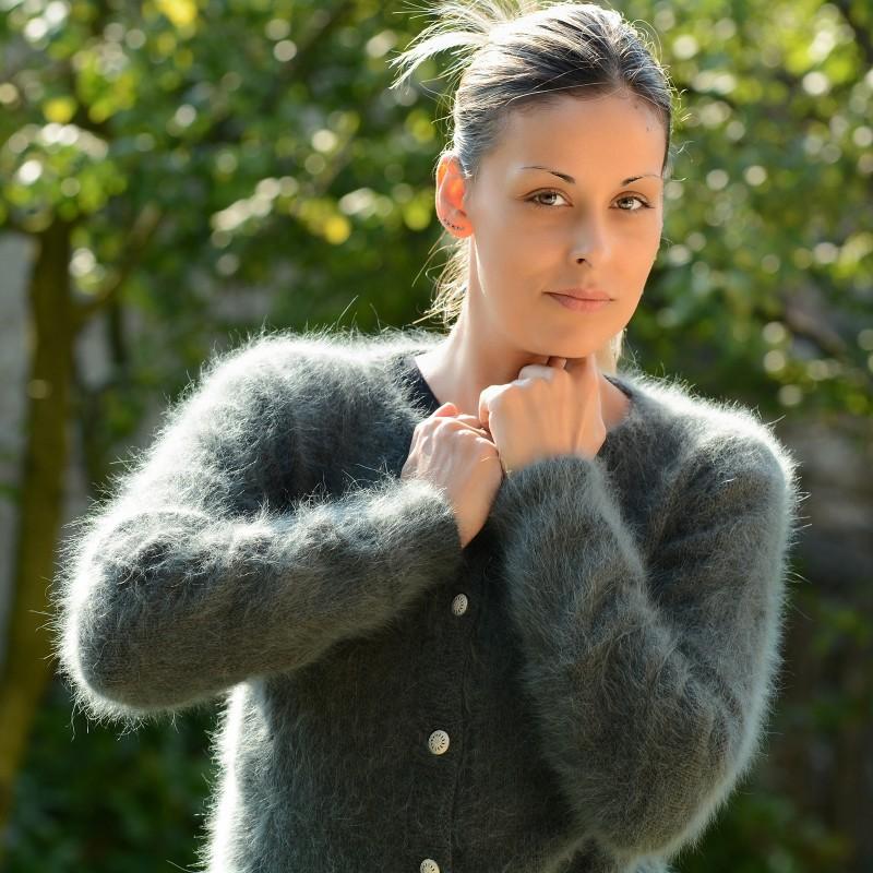 angora sweater ... hand knit 100% pure angora cardigan dark green fuzzy crew neck eqjcraa