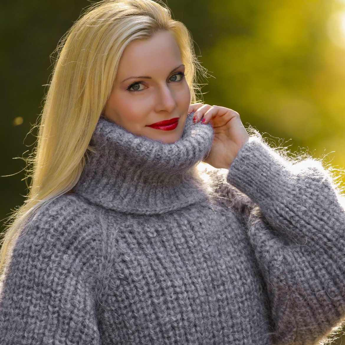 angora sweater hand knit ribbed mohair sweater in grey gqewhkg