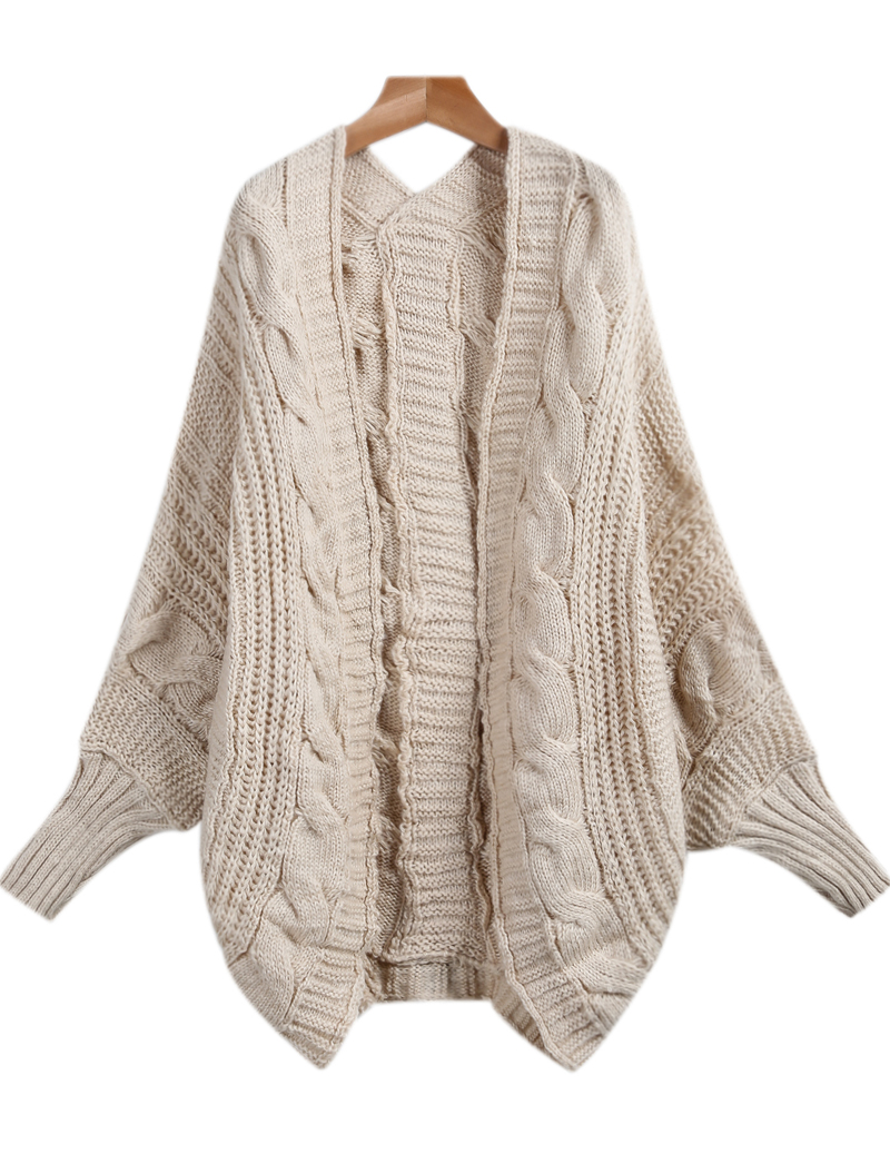 apricot long sleeve loose cable knit cardigan -shein(sheinside) snhrmkc