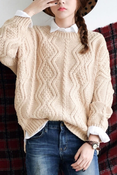 apricot round neck long sleeve cable knitted sweater oywrxuv