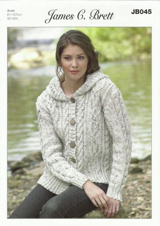 aran knitting patterns james c brett ladies hooded jacket in aran with wool knitting pattern exydxwg