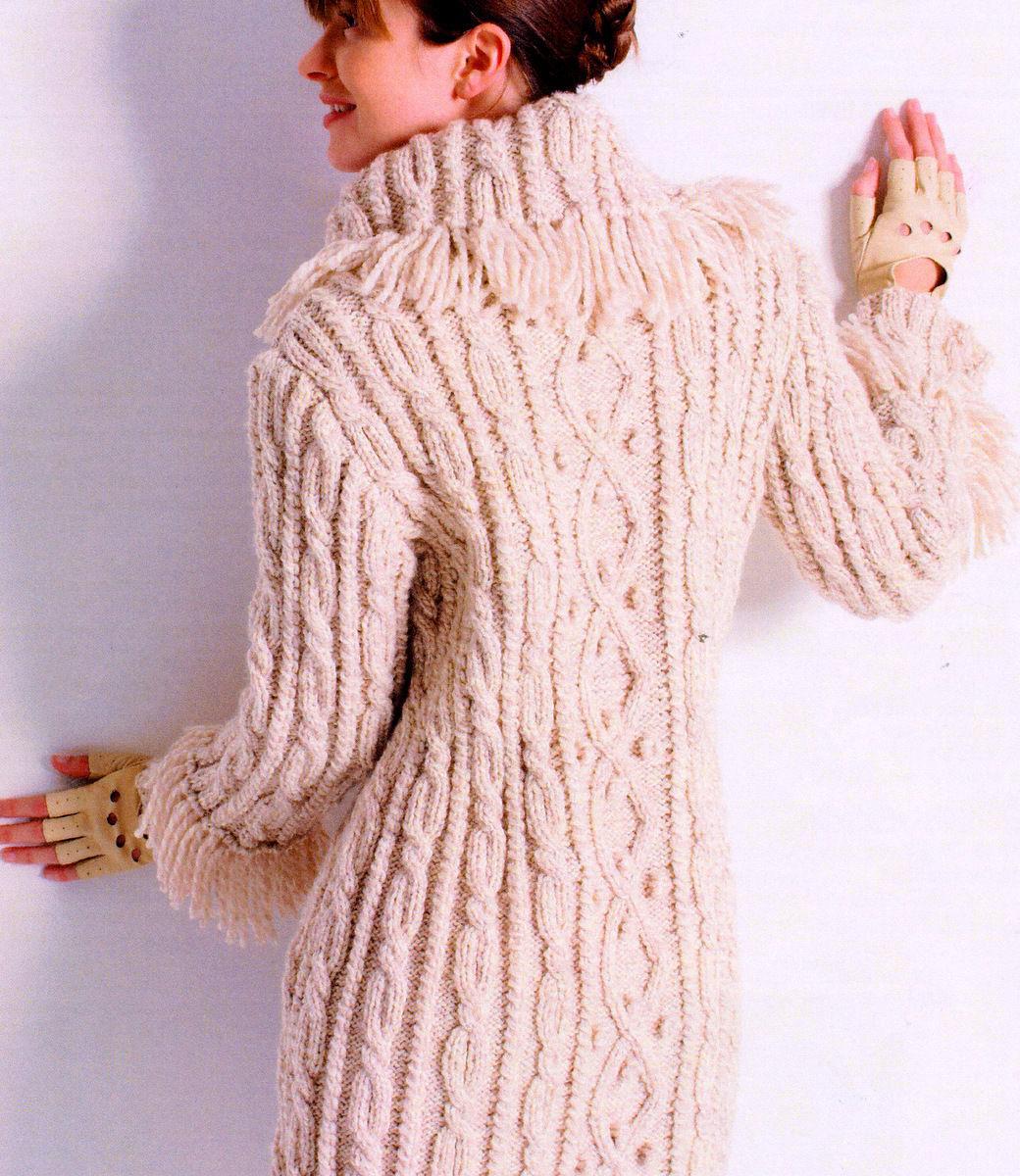 aran knitting patterns womans aran cable/bobble 3/4 coat fringed collar/cuffs 32 - 45 cffplnt