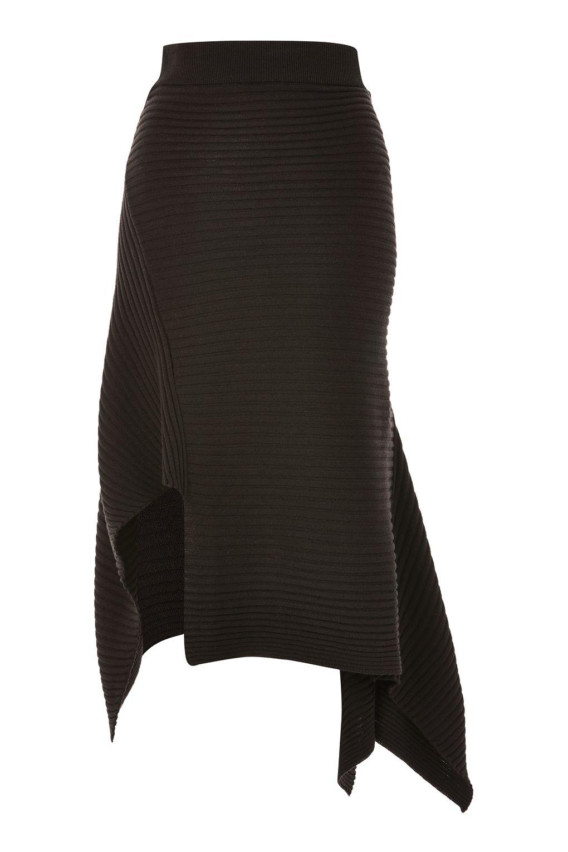 asymmetric hem knitted skirt - topshop uztnlhk