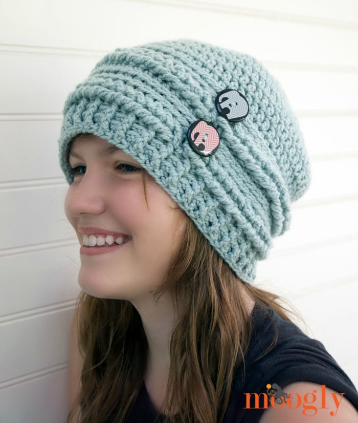 beanie crochet pattern ups and downs slouchy beanie - free #crochet pattern on mooglyblog.com with wbflern