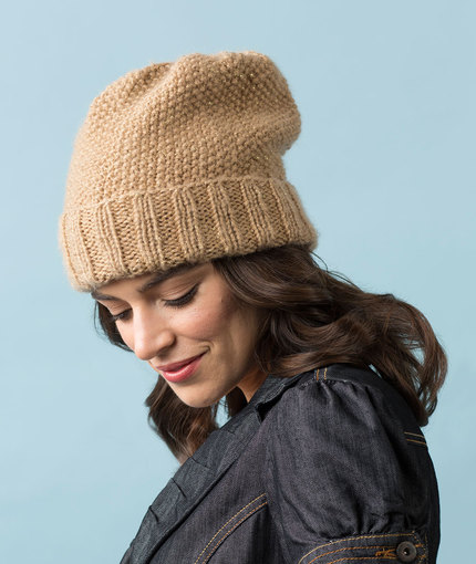 beanie knitting pattern seed stitch slouchy hat kygygtc
