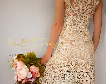 beige crochet dress. crochet wedding dress crochet mini dress. dress.  clothing. boho gaeaohl