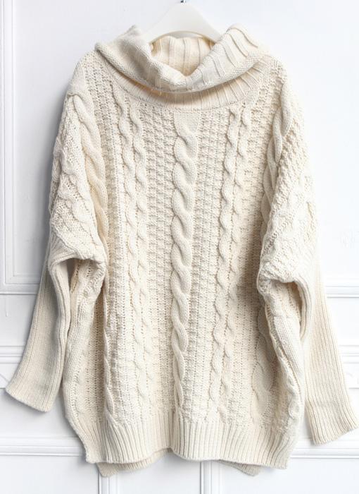 beige high neck loose cable knit sweater -shein(sheinside) otbzggh rczxauq