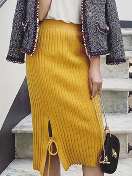 bodycon slit casual knitted skirt vapkdhk