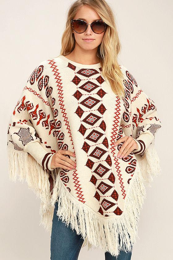 boho poncho - retro print poncho - poncho sweater - sweater poncho - uwoskbl