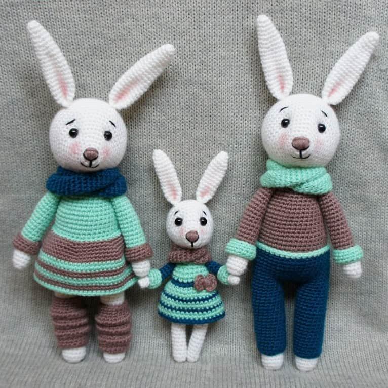 bunny family crochet toys - free amigurumi patterns bcjeeoy
